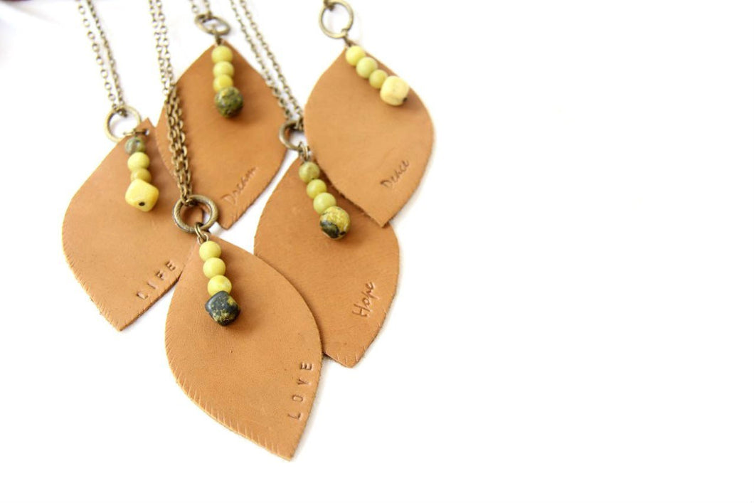 Hand-Stamped Leaf Necklace
