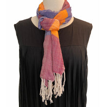 Load image into Gallery viewer, Blue Wine & Orange Peace House Scarf