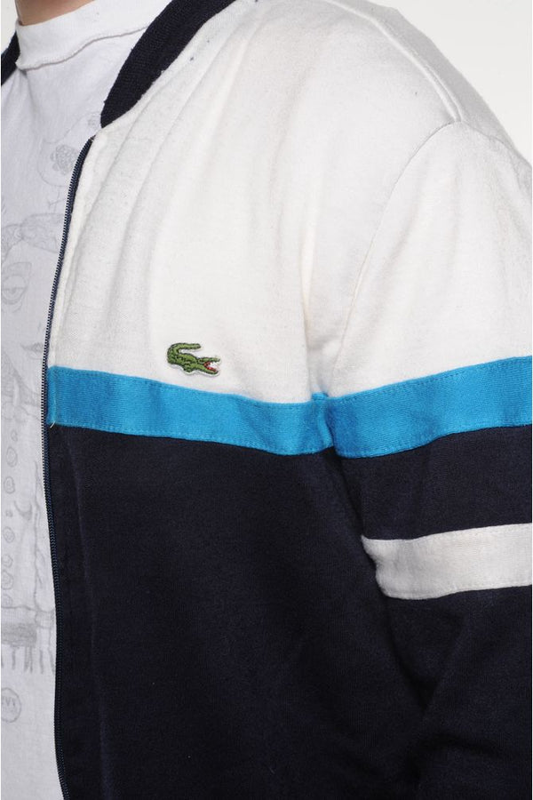 Lacoste Zip Up Striped Sweater