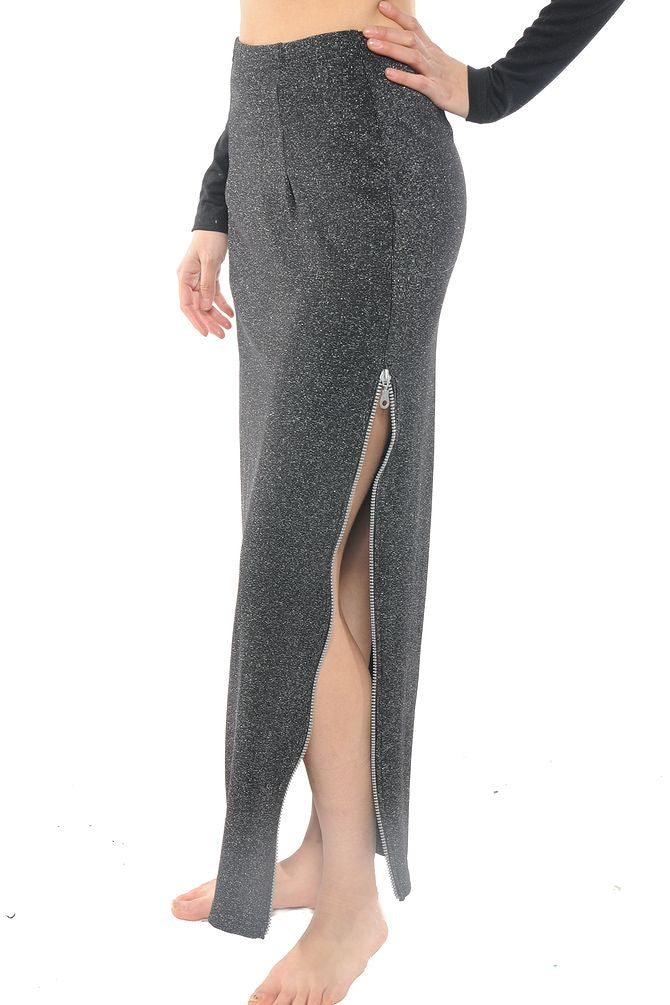 Grey Metallic Zipper Slit Maxi Skirt