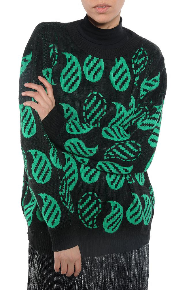 Black and Green Grandpa Sweater