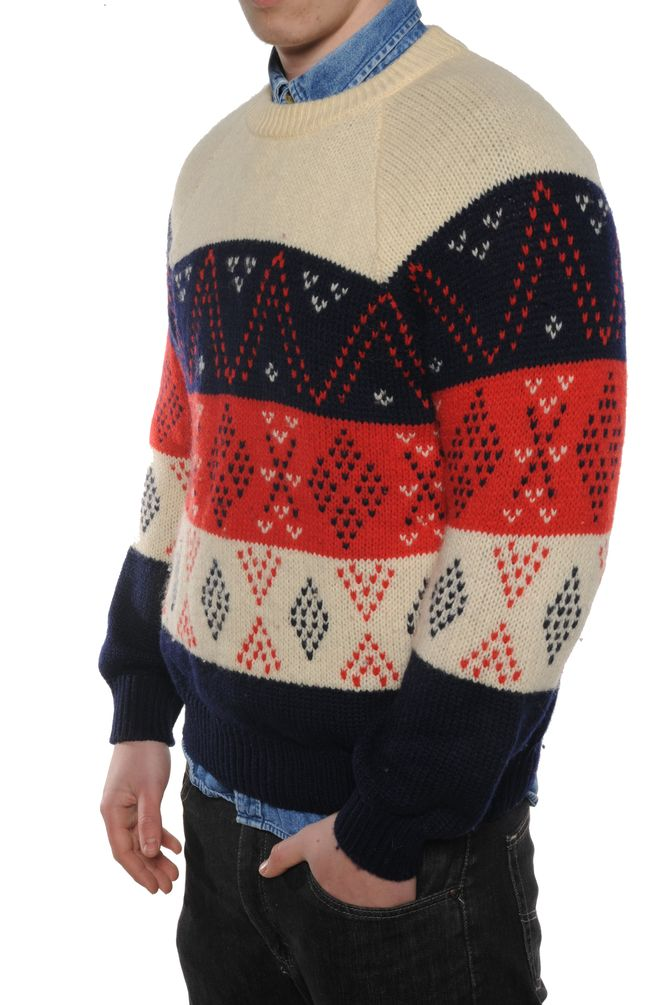 White and Navy Grandpa Sweater