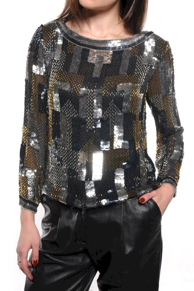 Sequin & Beaded Long Sleeve Top