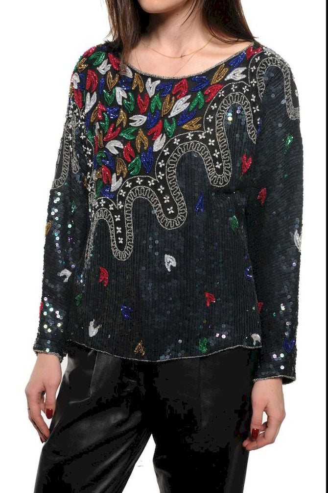 Sheer Beaded Sequin Top