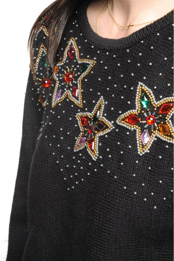 Black  Beaded Star Sweater