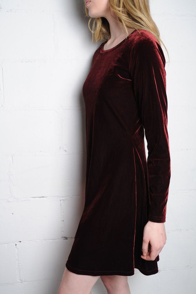 Wine Velvet Shift Dress