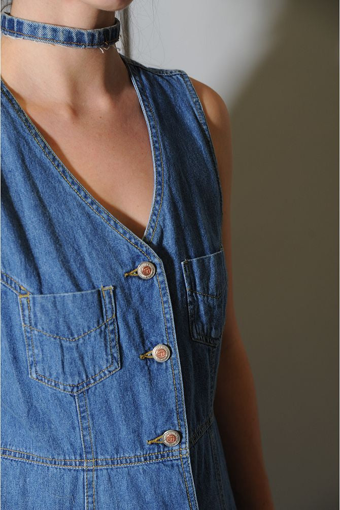 Button Up Denim Dress