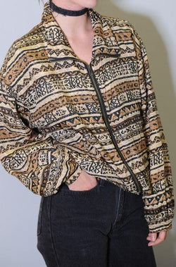 Geometric Print Silk Windbreaker
