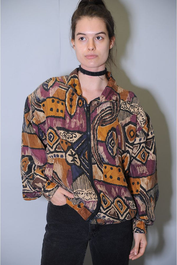 Geometric Silk Windbreaker