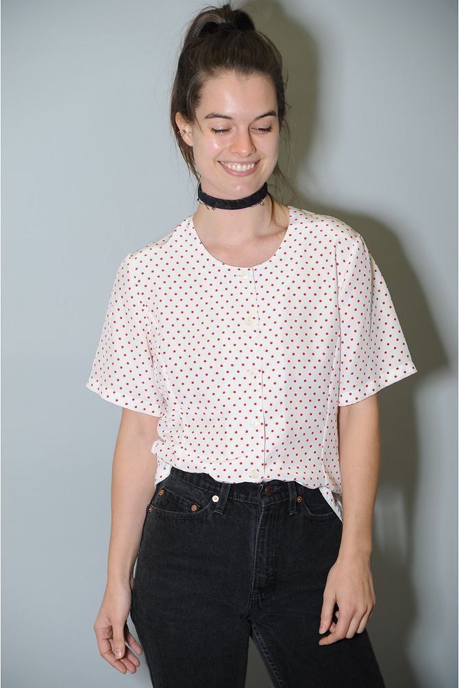 Polka Dot Button Blouse