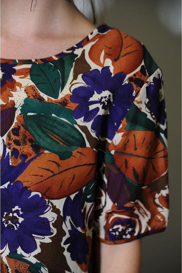 Burnt Orange Floral Blouse