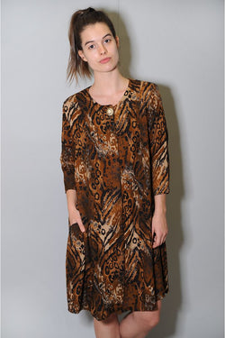 Animal Pattern Vintage Dress