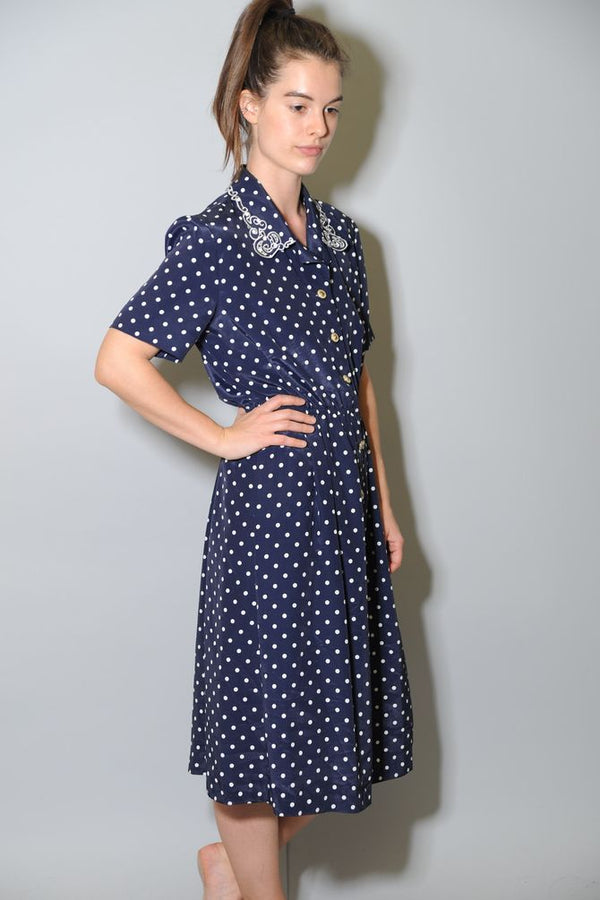 Navy Polka Dot Dress