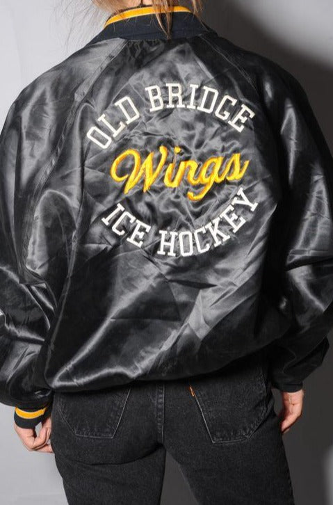 Black Satin Bomber Jacket
