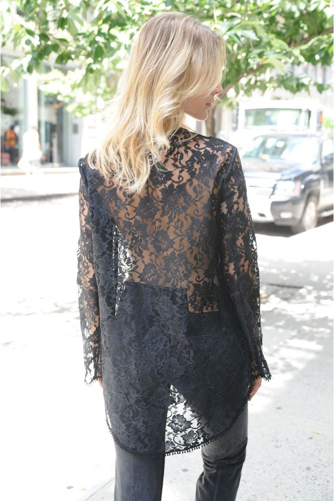 Longline Lace Button Blouse