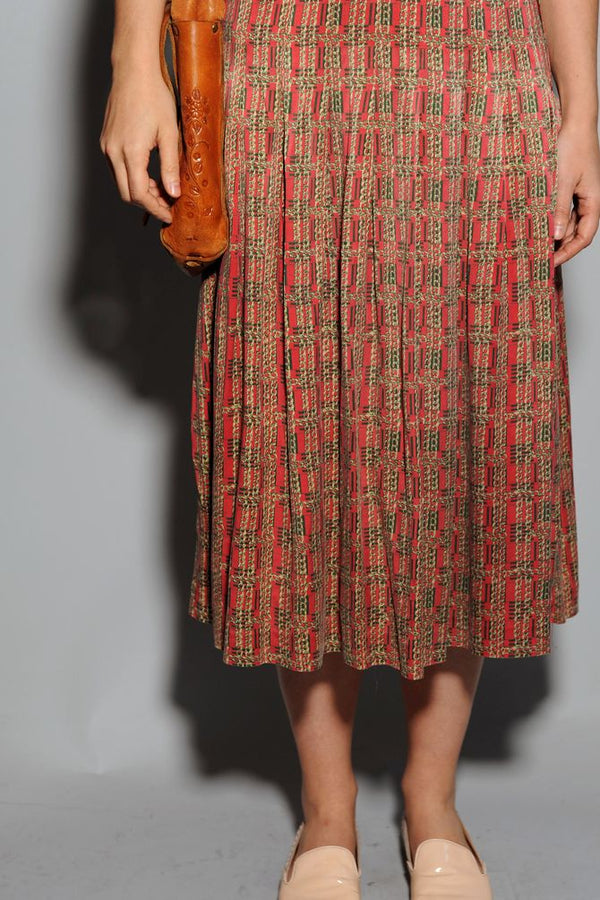Red Chain Maxi Skirt