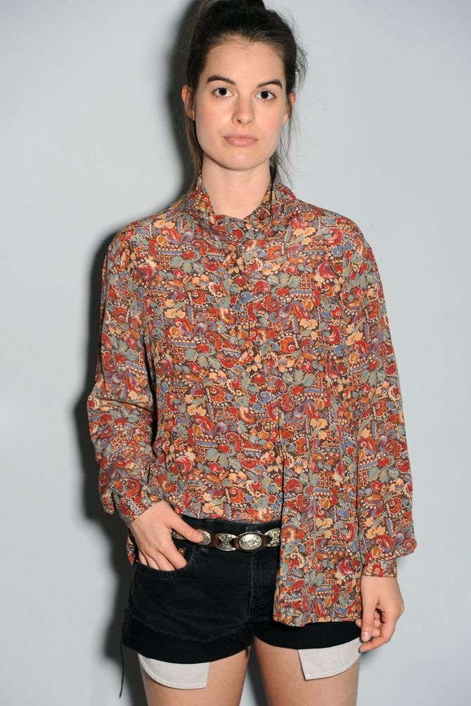 Floral Silk Button Down
