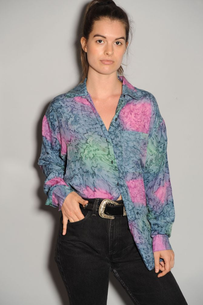 Silk Tie-Dye Button Blouse