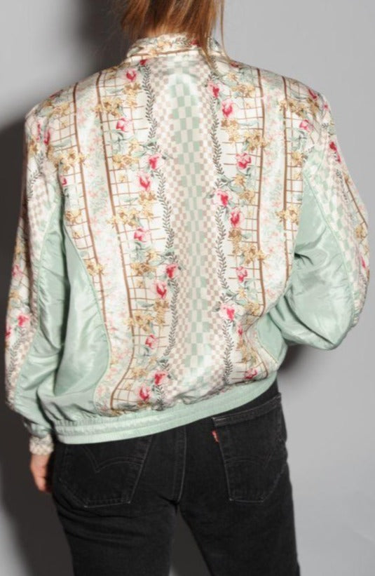 Floral Printed Silk Windbreaker