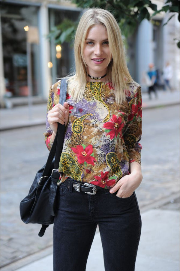 Silk Paisley Flower Blouse