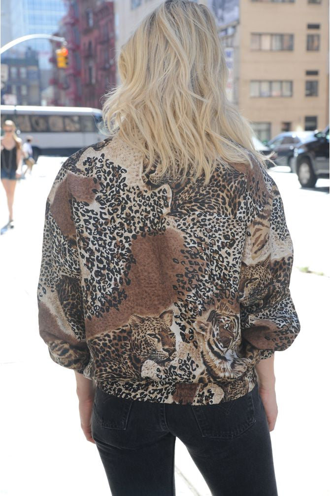 Leopard Print Silk Windbreaker
