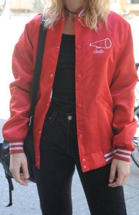 Red Satin Bomber Jacket