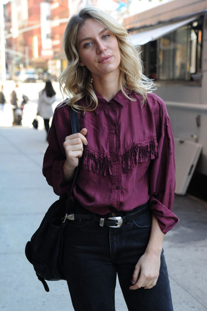 Silk Wine Fringe Button Blouse