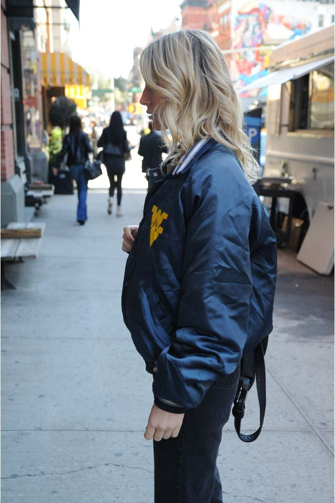 Navy Satin Bomber Jacket