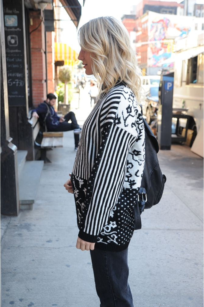 Black & White Multi Pattern Sweater