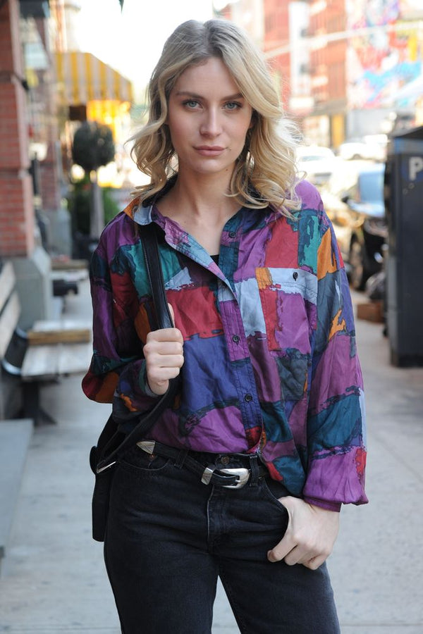 Silk Colorblock Blouse