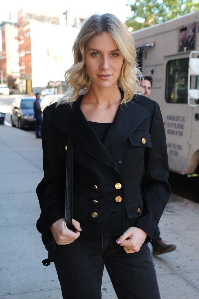 Double Breasted Black & Gold Button Blazer