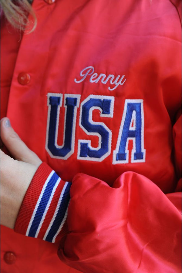 Red USA Satin Bomber Jacket