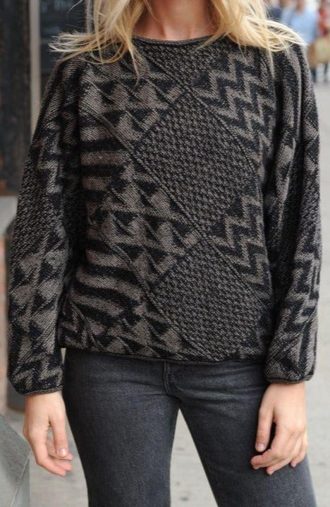 Black and Gray Geometric Sweater