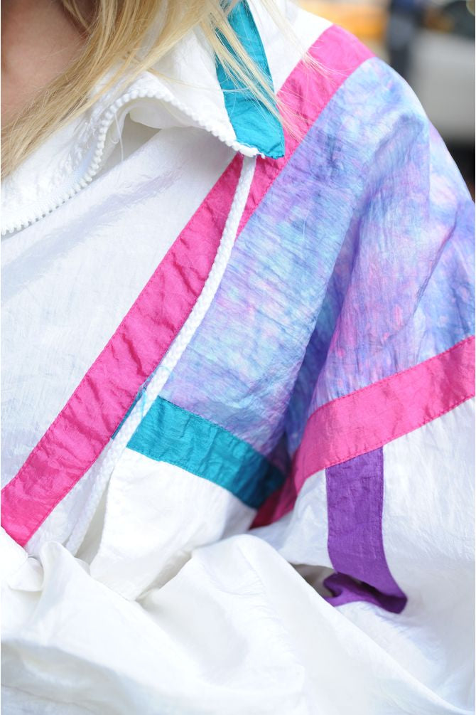 White Colorblock Windbreaker