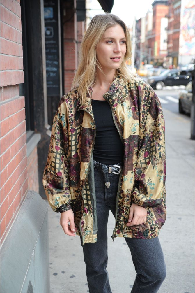 Floral Print Silk Windbreaker