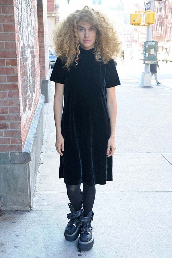 Black Shift Midi Velvet Dress