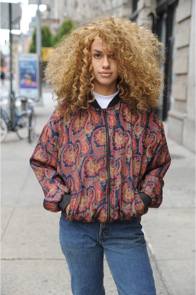 Paisley Print Silk Windbreaker
