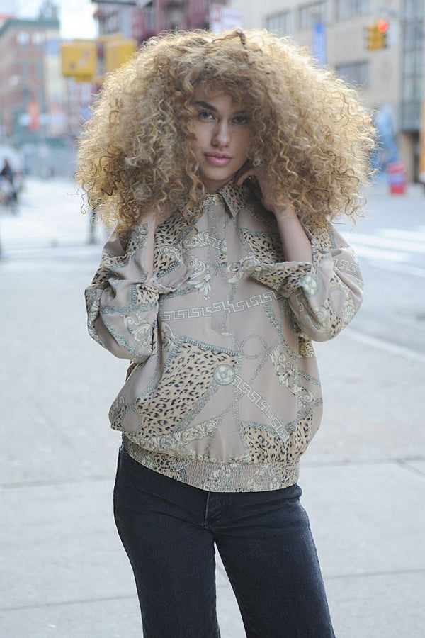 Silk Cheetah Baroque Blouse