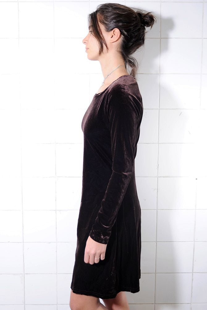 Wine Knee-Length Velvet Dress