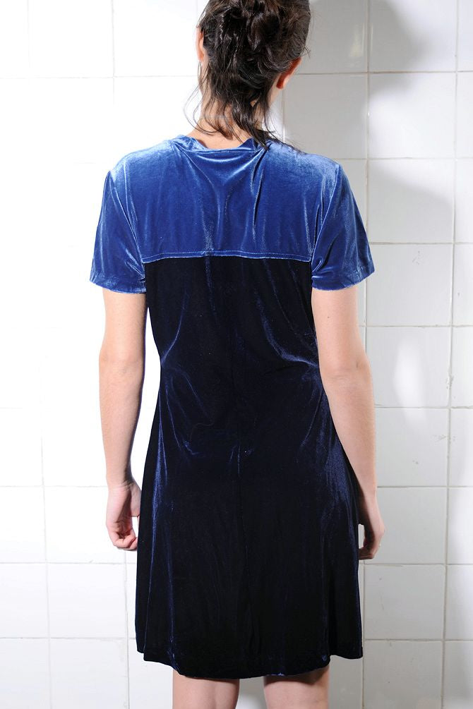 Blue Colorblocked Knee-Length Velvet Dress