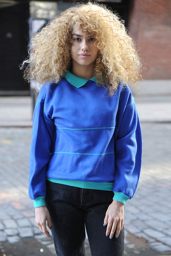 Blue Colorblocked Sweatshirt