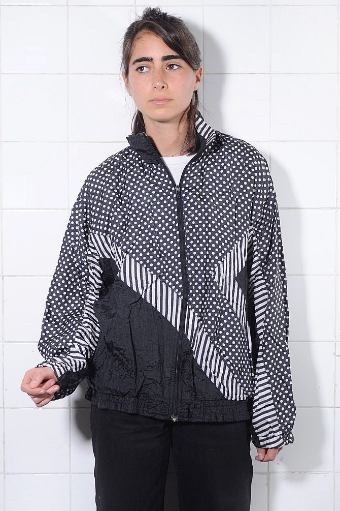 Polka Dot Colorblock Windbreaker