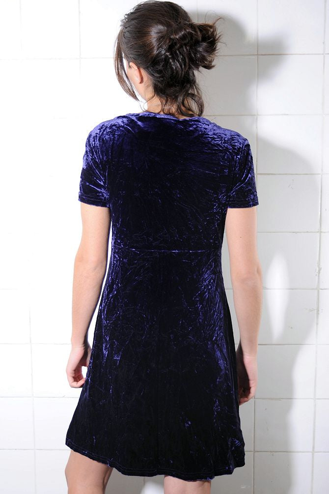 Blue Knee-Length Velvet Dress