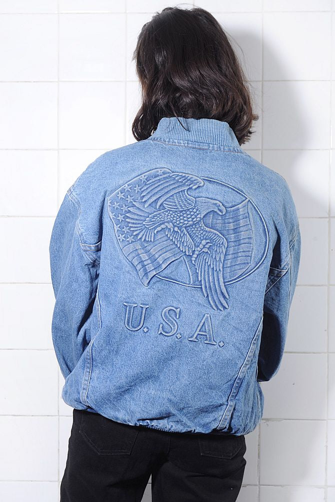 Embossed Light Denim Bomber Jacket