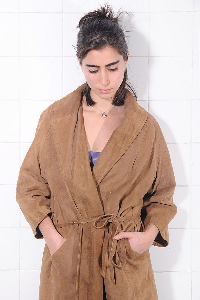 Brown Suede Belted Jacket