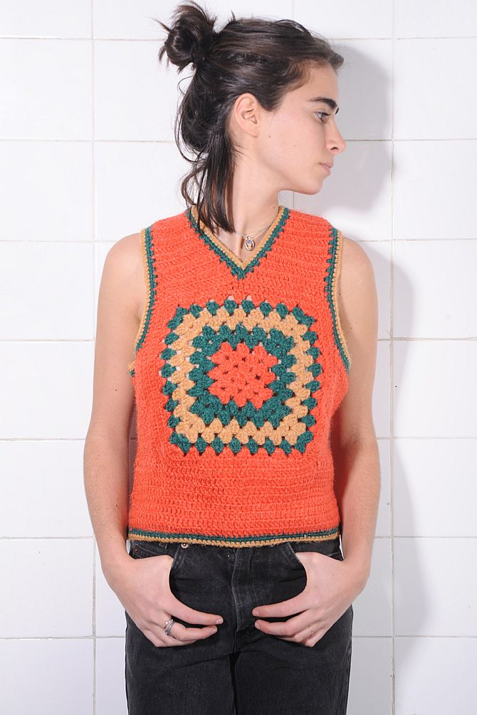 Handmade Orange Crochet Tank