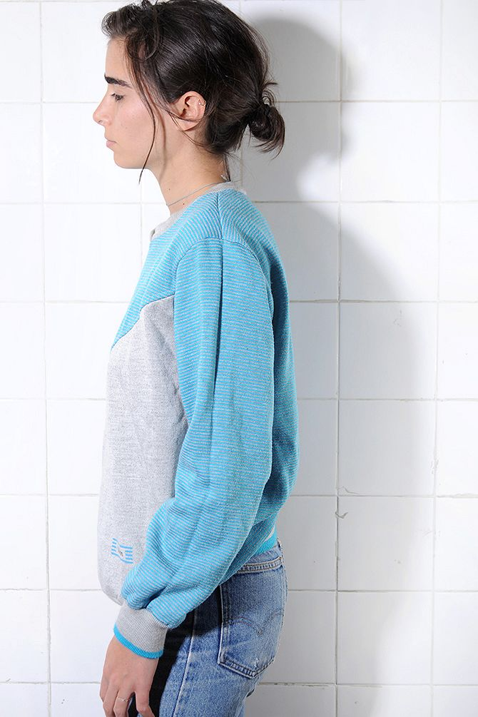 Blue & Grey Colorblock Sweatshirt