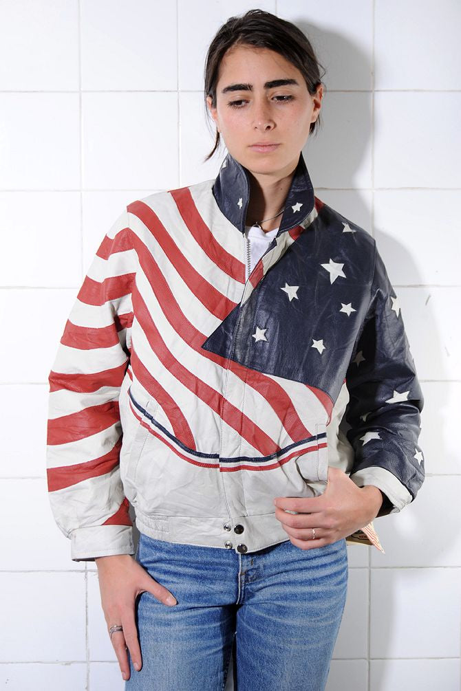 American Flag Leather Bomber