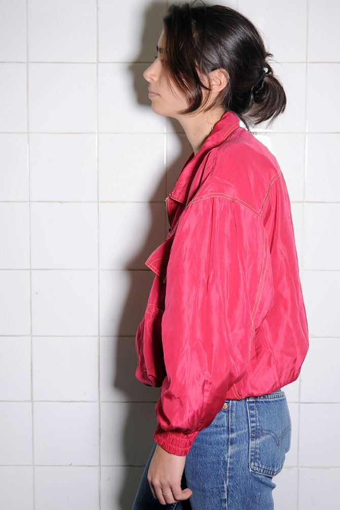 Neon Pink Silk Windbreaker