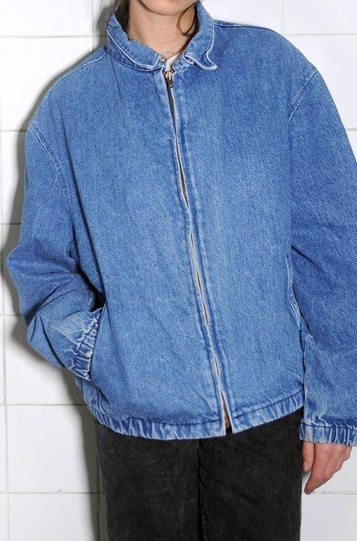 Simple Zipped Denim Bomber